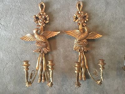 """Vintage Pair Giltwood Perched Eagle French Figural Wall Sconces Lamps Candle 29"""""""