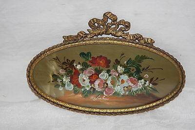 Antique Italy Artist Signe Miniature Floral Oil Painting Ornate Oval Brass Frame