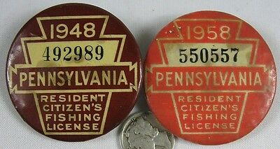 2 Vintage Pin Back Buttons 1948 & 1958 Pennsylvania Fishing License