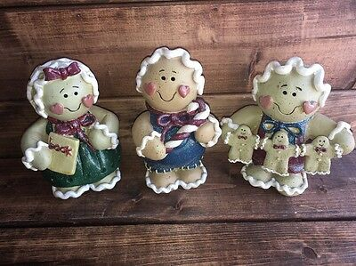New Lot/3 Gingerbread Figurines By Young's, Inc; Candy cane, Book, String