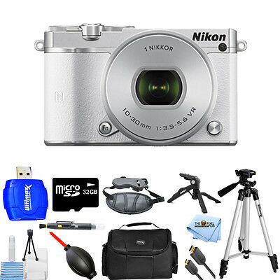 Nikon 1 J5 Mirrorless Digital Camera with 10-30mm Lens (White) PRO BUNDLE NEW!!