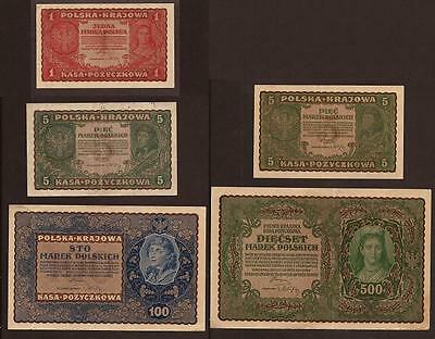 Lot of 5 Banknotes Poland. Independent Poland.1919. XF / aUNC