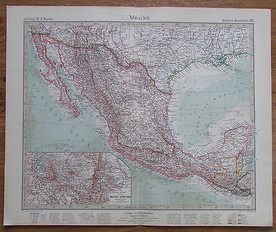 1926 MEXIKO Mexico Kupferstich Alte Landkarte Karte Antique Map