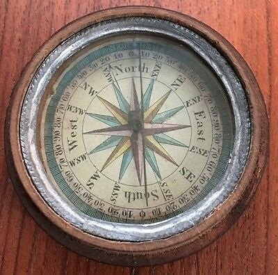 ANTIQUE 19th CENTURY COMPASS- TURNED WOOD OR TREEN CASE