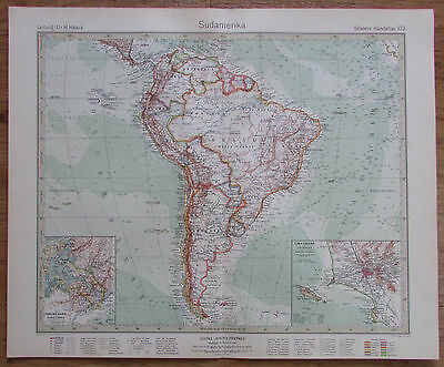 1926 SÜDAMERIKA South America Kupferstich Alte Landkarte Karte Antique Map