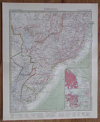 1926 SÜDBRASILIEN Brasilien South Brasil Kupferstich Alte Landkarte Antique Map