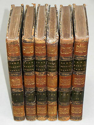The WORKS of LORD BYRON (1819) Complete 6 Vol Antiquarian Leather Bound Book Set