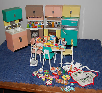 Vintage 1960's Reading Deluxe Dream Kitchen Table Chairs  Food Dishes Barbie