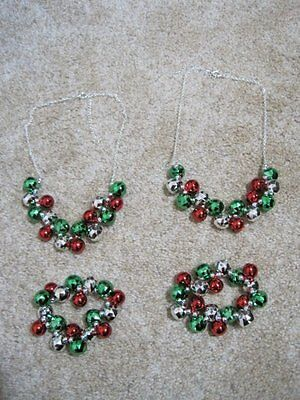 Girls red green jingly necklace bracelet lot of 4 sisters Christmas jewelry