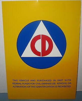 CIVIL DEFENSE VEHICLE 5X7 Inches AUTOMOBILE STICKER DECAL COLD WAR