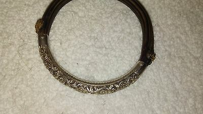 Antique Chinese Silver Repousse Bamboo Bangle Bracelet  - Marked Silver