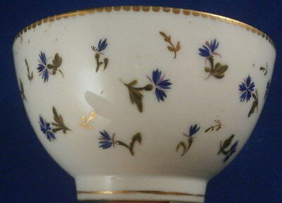 Antique Swiss / French Porcelain Tea Bowl Cup Blue Cornflowers Porzellan Tasse 2