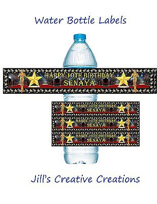 Hollywood Water Bottle Labels, Birthday, Water Bottle Labels, Hollywood