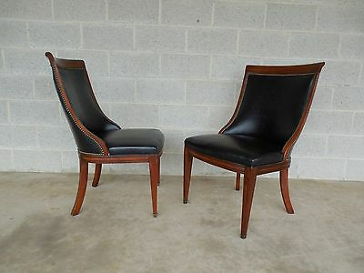 Hickory Chair Pair Regency Style Mahogany Frame Leather Accent Chairs