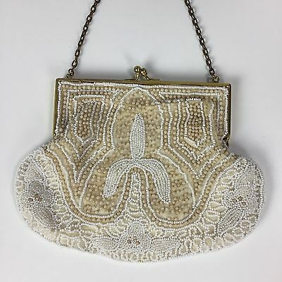 Vintage 1940s Decorative Hand Beaded Evening Bag Clutch White Cream Gold Handle