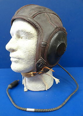 Us Naval Aviator'S Leather Flying Helmet W/receivers & Cord