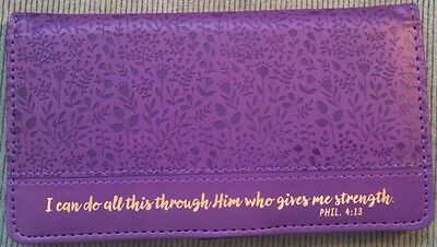 Women's Christian I CAN DO ALL THROUGH HIM Purple Lux Leather ID CHECKBOOK COVER