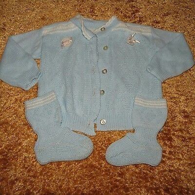 Vintage Boy's Knit Sweater & Booties Set Euc Approx 0-6 Months