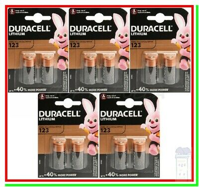 10 Batterie Pile DURACELL 123 Ultra Litio CR 17345 Foto Allarmi Sensori Softair
