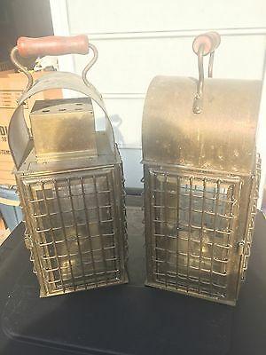 Pair Of Reproduction Brass Nautical Oil Lanterns