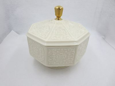 Vintage Lenox China Octagon Covered Candy Dish With Embossed Design