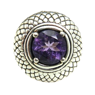 Signed RS Round Purple Textured Sterling Silver Ring
