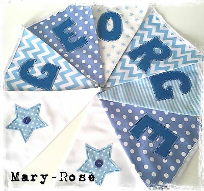 Baby Boy Personalised NAME BUNTING/BANNER Blue and White Stars