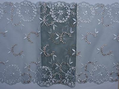 "*The Place For Lace* Grey Silver Embroidered Tulle Lace Trim 8.5""/22cm 1 METRE"