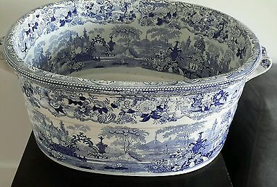 Antique Transferware Staffordshire Blue Foot Bath Extremely Rare