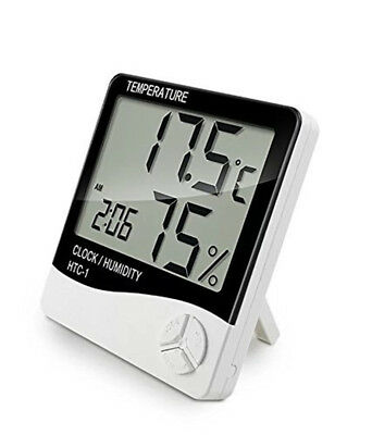 Thermometer Hygrometer Temperature Humidity Meter Clock For Workshop Greenhouse