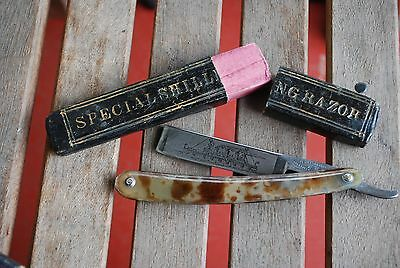 The Celebrated Razor Sheffield Superior Cutlery Battleship Etch Straight Razor