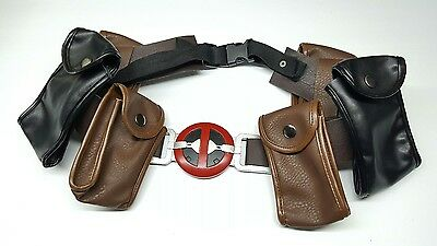 Marvel Deadpool Faux Leather BELT w/ 6 Pockets Movie XCOSER Cosplay Costume