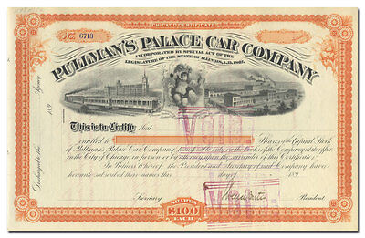 Pullman's Palace Car Company Stock Certificate Signed by General Horace Porter