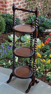 Antique French 3-Tier Oak Barley Twist Cake Muffin Pie Stand Folding Table
