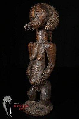"21.5"" Hemba Female Figure with 2 Forward Braids—DR Congo"