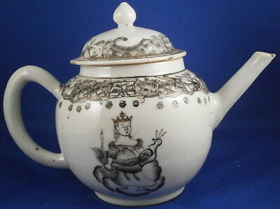 Antique 18thC Chinese Export Porcelain Grisaille Teapot Porzellan Kanne China
