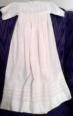 Antique/vintage Long Cotton Babies Gown From England Hand Embroidered Pattern