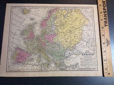 Antique Vintage Map Europe Mitchell's 1839 Hand Colored