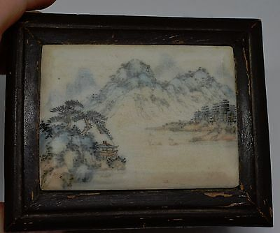Early Chinese Hand Painted on Stone Wooden Trinket Box ~ 4 ''x 3'' x 2'' ~