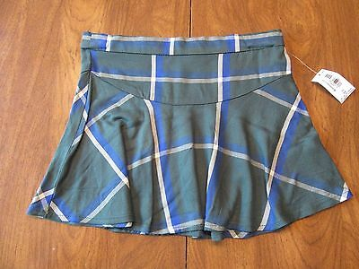 Old Navy Girls 3T Green, Blue & White Plaid Adjustable Waist Skirt Free Ship NWT