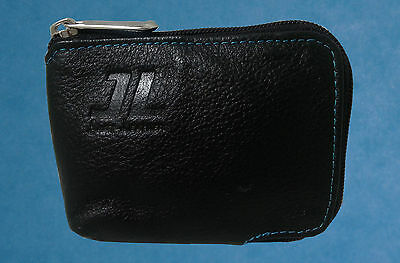 JL Men's Genuine Cowhide Leather Zip Around Slim Wallet Black