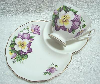 High Tea Queen Anne bone china CLEMATIS Tennis Set cup saucer plate