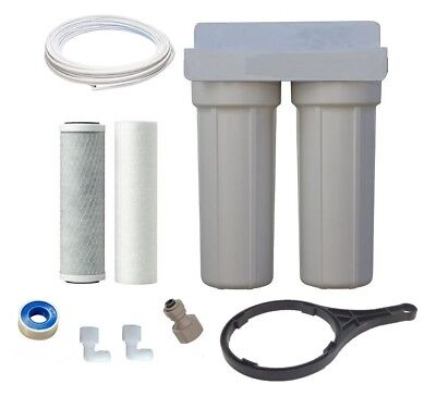 2 Stage Carbon Water Filter 0.5 Mic Under Bench Sink Counter Housing Kit no tap