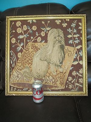 "Framed Dog TAPESTRY Wall Hanging LHASA APSO ? Long Haired Dog  21 3/4"" x 21 3/4"""