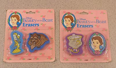 Vintage Disney Beauty and the Beast eraser set new in package lot of 2