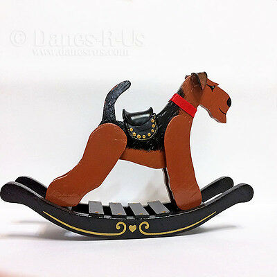 Airedale Terrier Rocking Horse Animal Wood Hand Crafted Dog Art Hand Painted