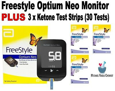 Ketone Test Strip (3x10) PLUS Freestyle Optium Neo Monitor Keto *VASILI CHEMIST*