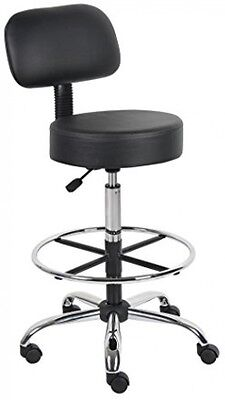 Drafting Stool With Wheels And Back Black Boss Office Products B16245-BK