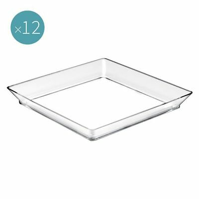 NEW Gold Plast Plastic Plate Tray, Medium (Set of 12) in Black, Clear, White