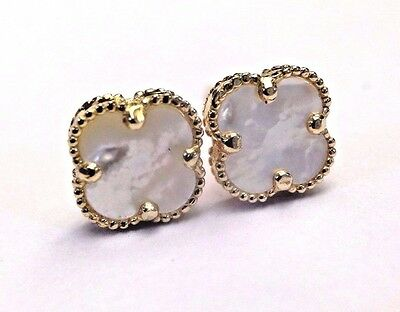 Cute! 14K Yellow Gold White Mother of Pearl Clover Flower Earring Studs